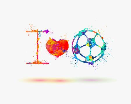vector fan slogan: i love football Soccer Ball