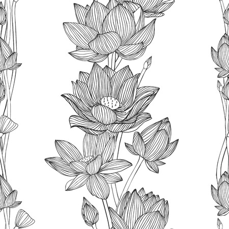 floral vertical stripes. Linear seamless pattern - lotus flower.