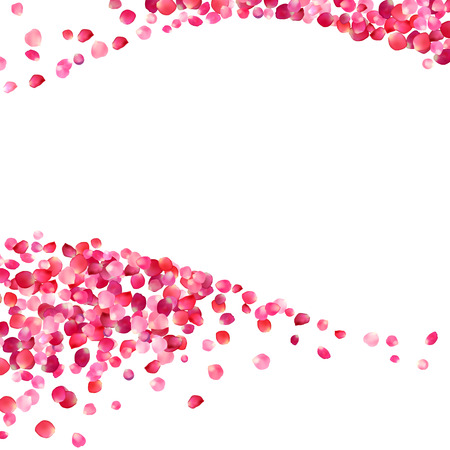 white background with pink rose petals waves Ilustracja