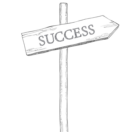 leveling: Hand drawn vector illustration. Pointer with the word success