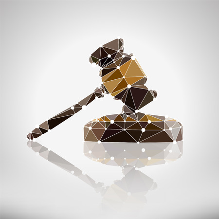 judgments: Instrument of justice - a hammer. Vector Illustration