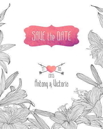 royal wedding: Wedding invitation save the date template with linear royal lily flowers. Illustration