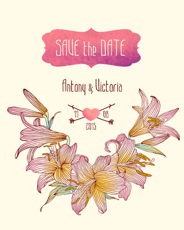 royal wedding: Wedding invitation save the date template with pink royal lily flowers.