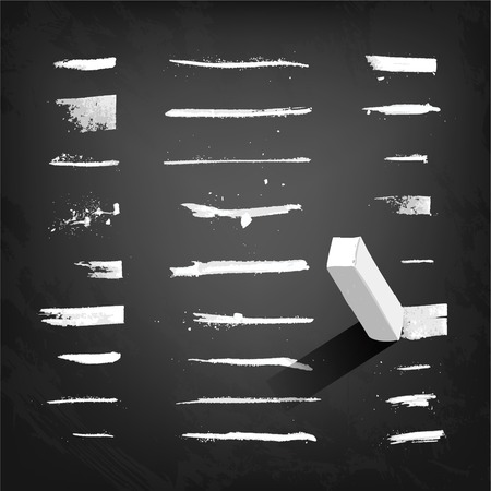 single object: Vector chalk strokes and lines on a blackboard. Each bar is grouped into a single object Illustration