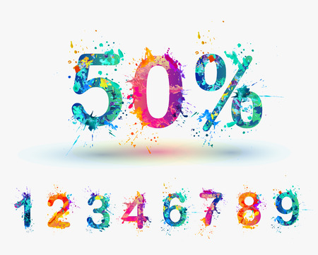 number five: SALE Percents. Vector paint splash. You can set any discount from the collection of digits