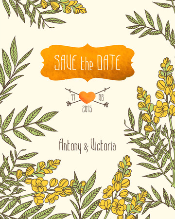 Wedding invitation save the date template with senna flowers.