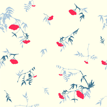 rowan tree: Vector seamless floral pattern - berries of rowan tree Illustration