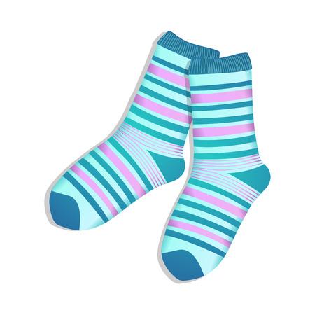 white socks: Pair of striped blue socks on a white background