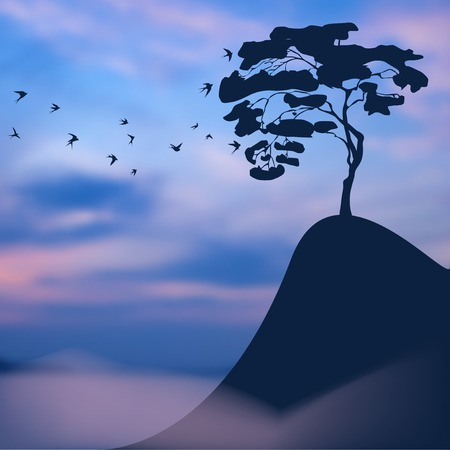 precipice: Sunset blurred landscape: lonely tree on a precipice, and a flock of birds