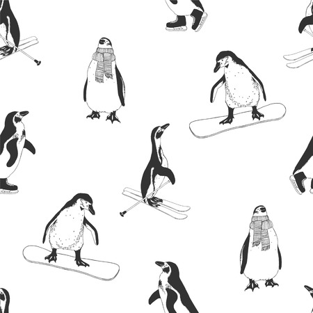 Penguins: Seamless pattern - penguins. Winter sports. Black and white Illustration