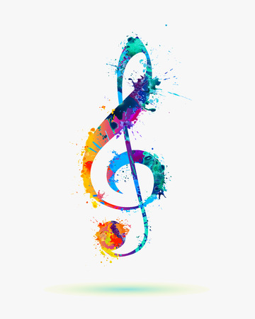 treble clef in rainbow colors