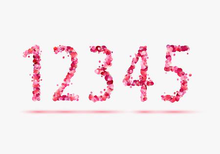 3 4: Pink rose petals numeral figures. 1, 2, 3, 4, 5