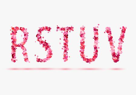 u  s  a: Pink rose petals alphabet. Part 4. Letters R, S, T, U, V.