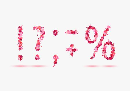 pink rose petals: Set of alphabet symbols. Pink rose petals