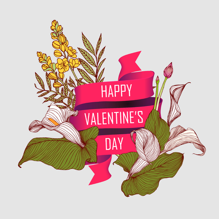 Card with flowers and a ribbon that says: Happy Valentines Day