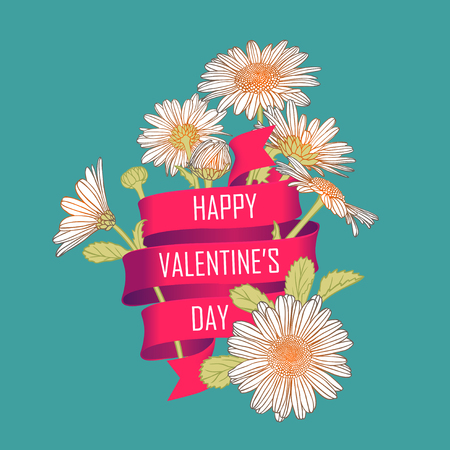 chamomile: Card with chamomile flowers and a ribbon that says: Happy Valentines Day