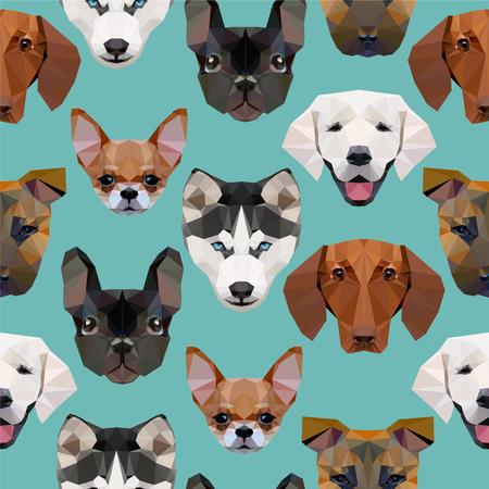 Seamless pattern - polygonal dogs