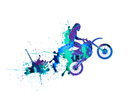 spurt: motorcyclist. Splash paint