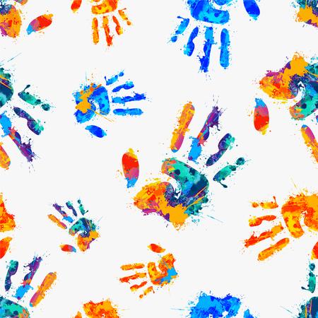 naadloze patroon - beschilderde handen Stock Illustratie