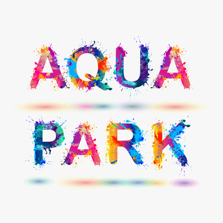 aqua: AQUA PARK. Word written spray paint