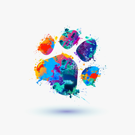tracks: animal footprint. Rainbow splash icon for pet shop