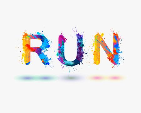 corriendo: Correr. Palabra escrita pintura en aerosol Vectores