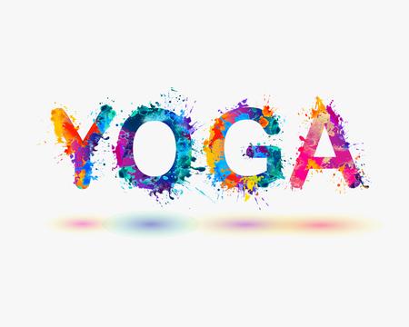 """Palabra """"yoga"""". salpicaduras de pintura del arco iris Ilustración de vector"""