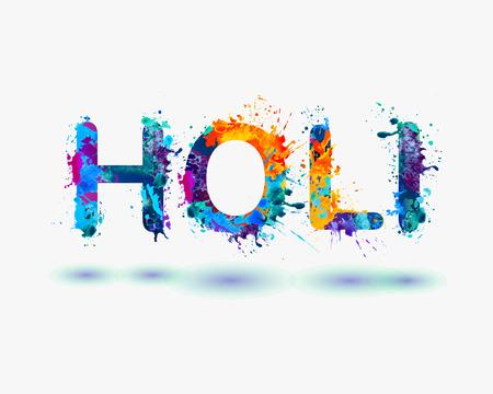 holi: Word HOLI Rainbow splash paint