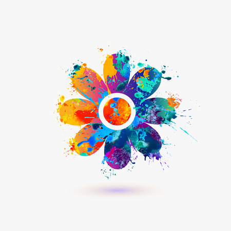 Flower icon. Rainbow splash Vectores