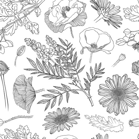 Linear seamless pattern of assorted flowers