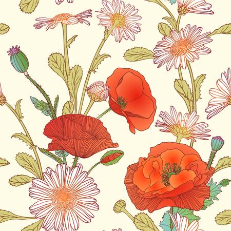 poppy flowers: Seamless pattern - chamomile and poppy flowers Illustration