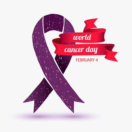 red ribbon bow: World cancer day. February 4