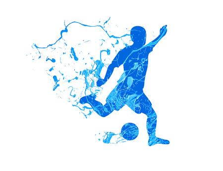 Piłkarz. Malowanie natryskowe na białym tle