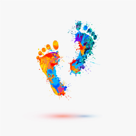 Foot prints. Vector watercolor illustration  イラスト・ベクター素材