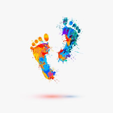 manos y pies: Impresiones del pie. Vector ilustración de la acuarela