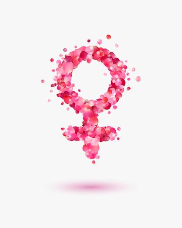 sexo femenino: símbolos femeninos de pétalos de rosa