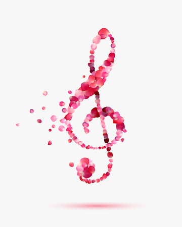 rose petals: treble clef of rose petals. Romantic music symbol Illustration
