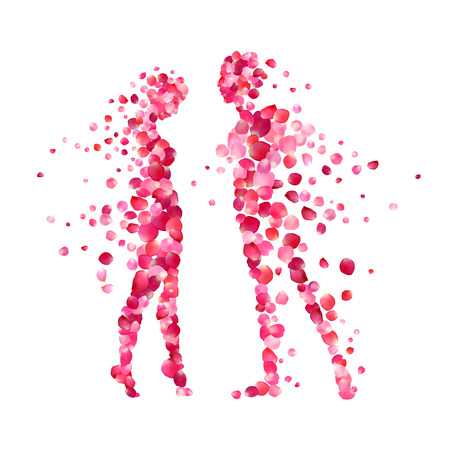 loving couple silhouettes of rose petals. Valentine's Day illustration Illustration