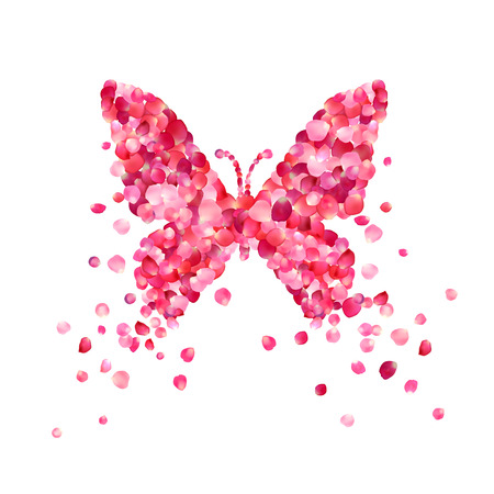 Butterfly of pink rose petals isolated on white