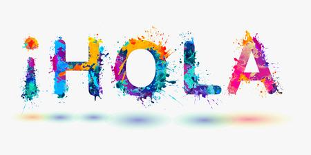 Hola. Hello in Spanish Stock Illustratie