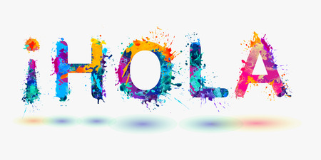 Hola. Hello in Spanish Illustration