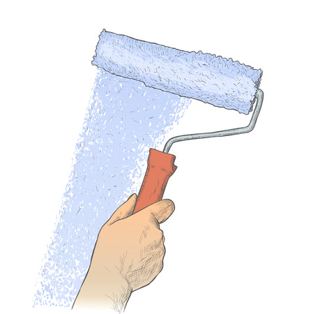 reform: paint roller in hand Illustration