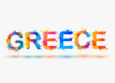 GREECE. Splash paint word Illustration