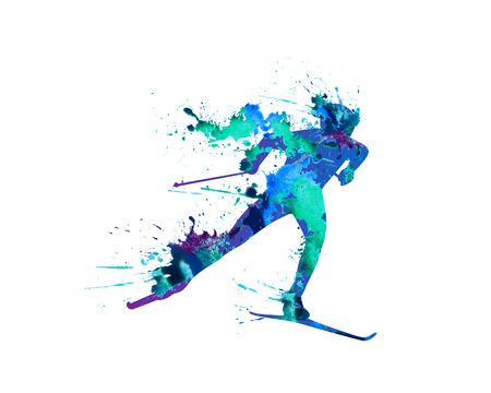 Ridge ski course. Skiing 向量圖像