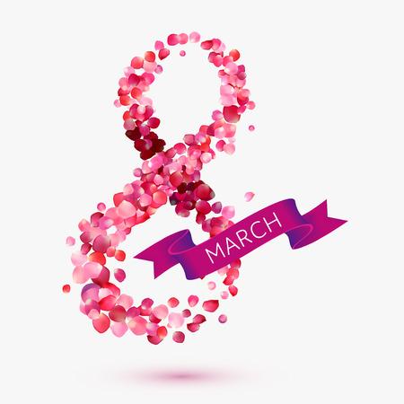핑크 인사말 카드 꽃잎과 리본 상승했다. 3월 8일 - 여성의 날