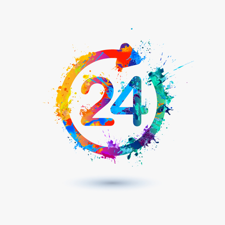 24 hours a day icon Vectores