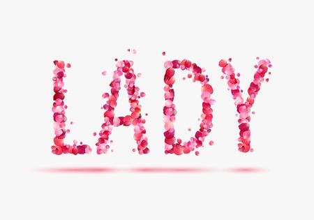 pink rose petals: LADY. Pink rose petals word