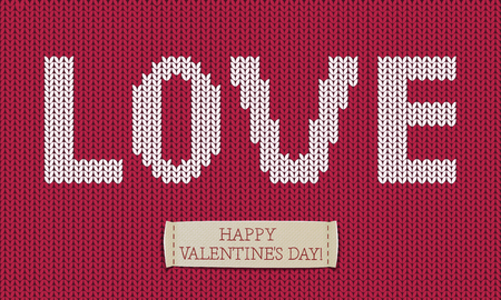 hosiery: Word love on jersey texture. Happy Valentines day!