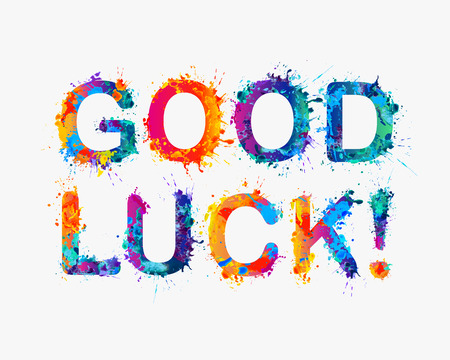 GOOD LUCK! Motivation inscription of splash paint letters Imagens - 51654578