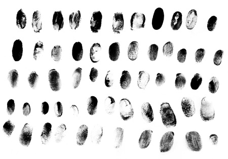 ide: Set of fingerprints black on white Stock Photo